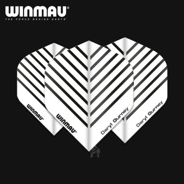 画像1: winmau フライト エンボス&Vグルーブテクノロジー  ホワイト ダリル ガーニー Daryl Gurney  No.6型スタンダード (1)